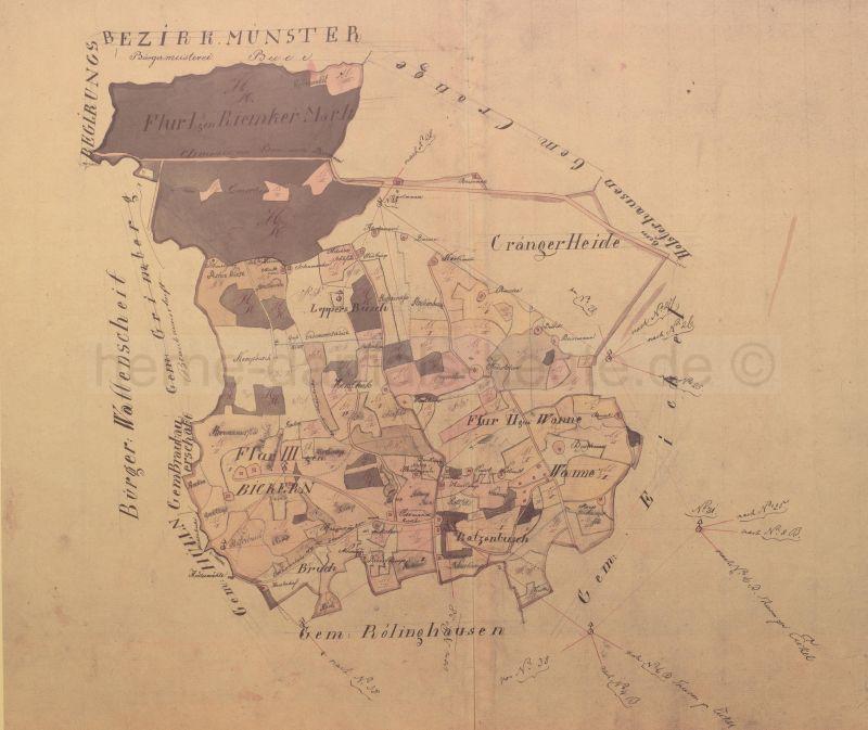 Übersichtshandriss Bickern, 1824, Foto Stadtarchiv Herne
