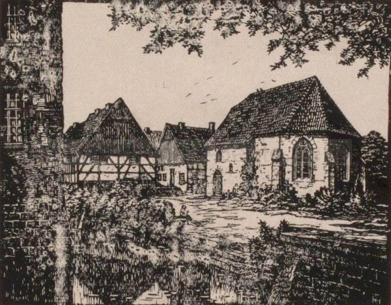 Alt-Crange mit Dorfkirche im Vordergrund, am Bildrand links sieht man eine Wand des Hauses Crange. Nach einem Holzschnitt von Heinrich Evers, Foto Stadtarchiv Herne