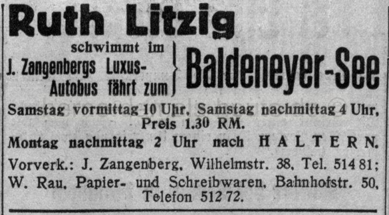 Anzeige in der Herner Zeitung, 18.08.1933, Foto Archiv Piorr