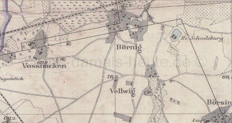 Ausschnitt Übersichtskarte des Landkreises Dortmund, 1888