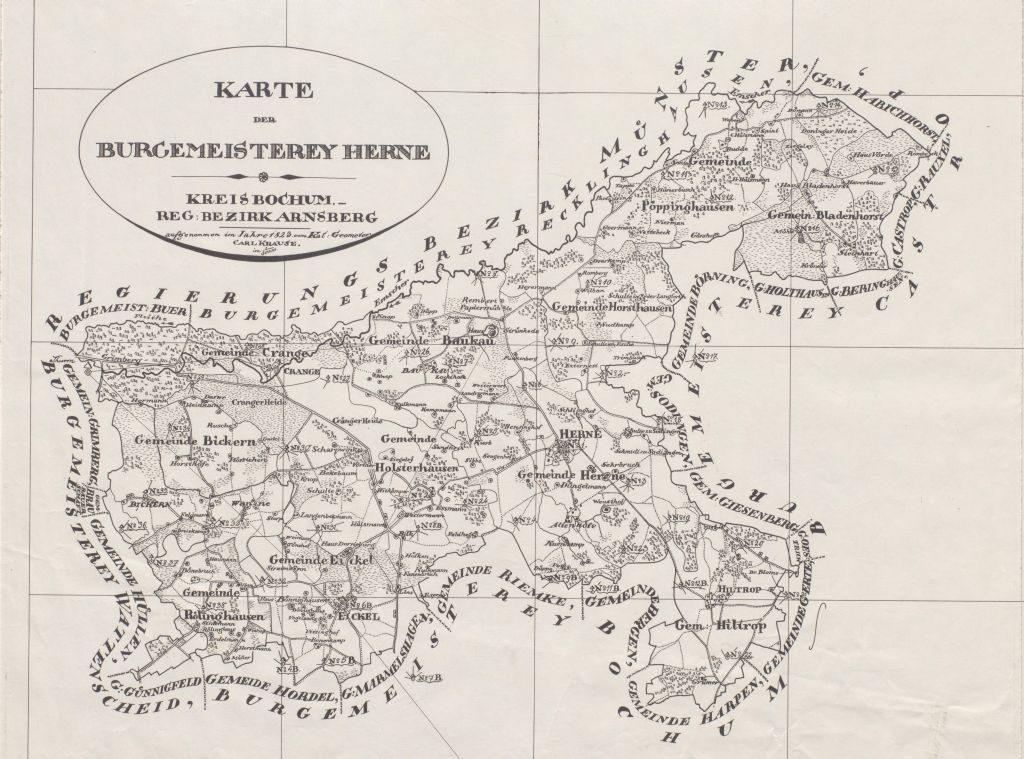Karte der Bürgermeisterei Herne aus dem Jahre 1823, Foto Stadtarchiv Herne