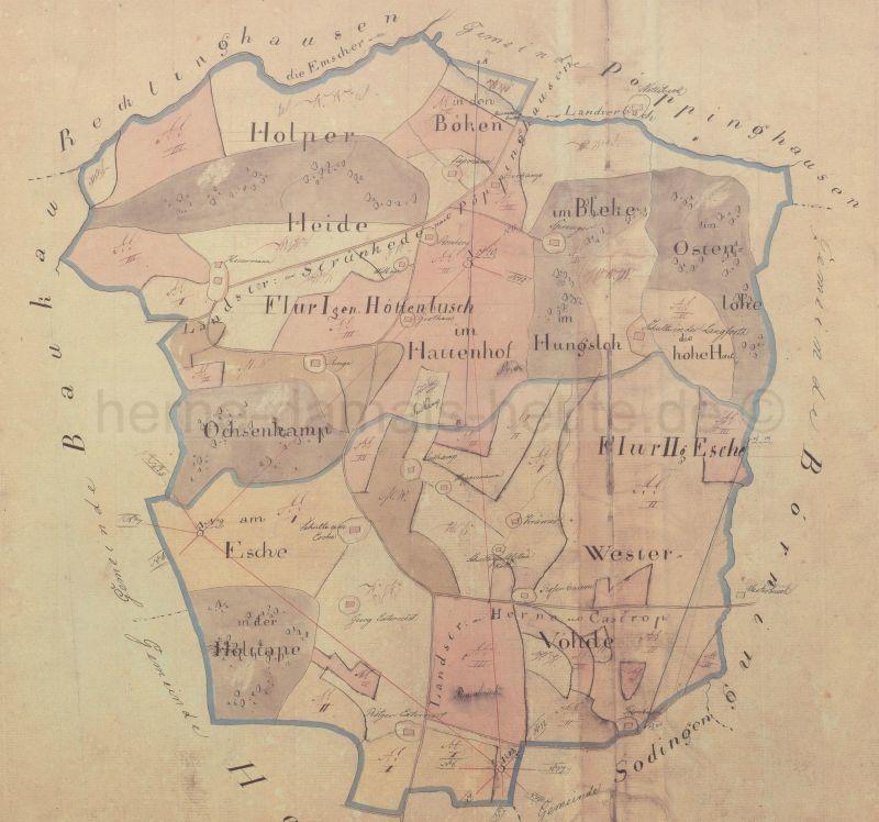 Der Übersichtshandriss der Gemeinde Horsthausen wurde 1823 aufgenommen. Unterteilt war die Gemeinde in die Flure Höttenbusch und Esche. Foto Stadtarchiv Herne