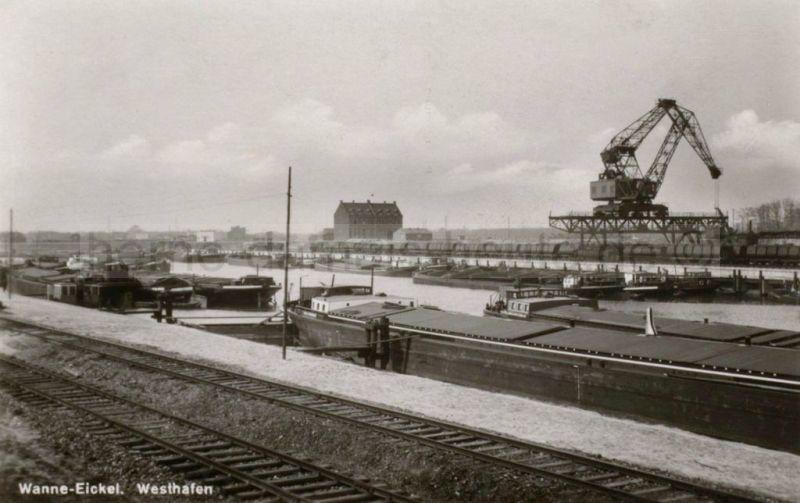 Der Westhafen mit Krummen Hund, 1950er Jahre, Foto Stadtarchiv Herne