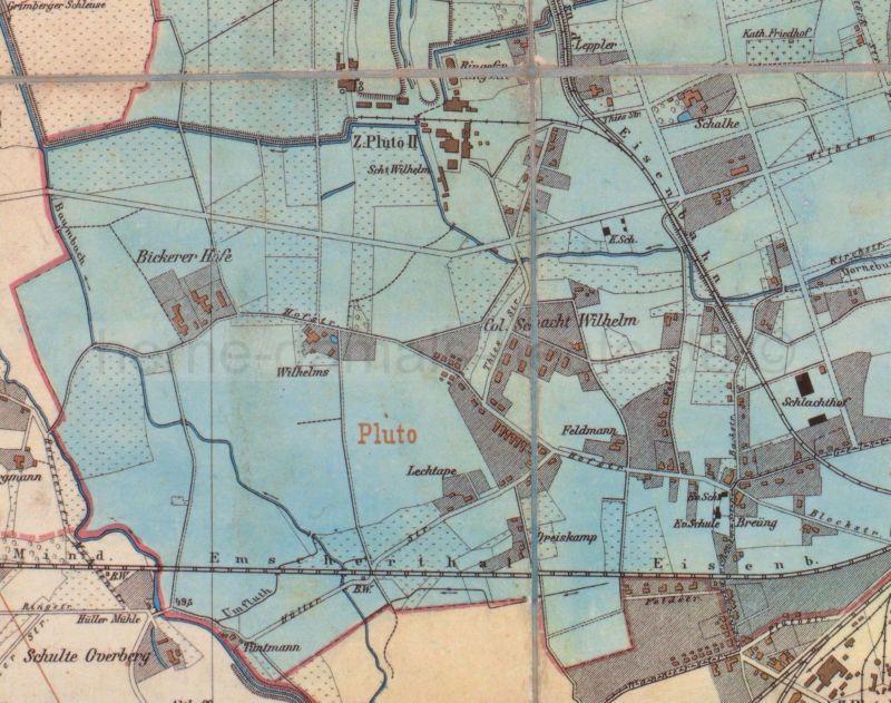 Dorf trifft Industrie, die Bickerer Höfe und Zeche Pluto, Ausschnitt aus der Kreiskarte Gelsenkirchen, 1902, Foto Stadtarchiv Herne