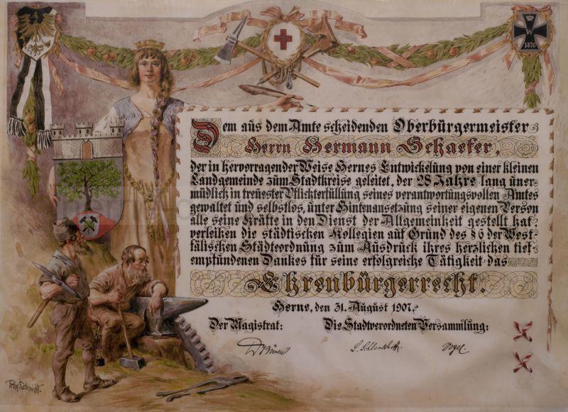 Ehrenbürgerurkunde von Hermann Schaefer, Foto Stadtarchiv Herne
