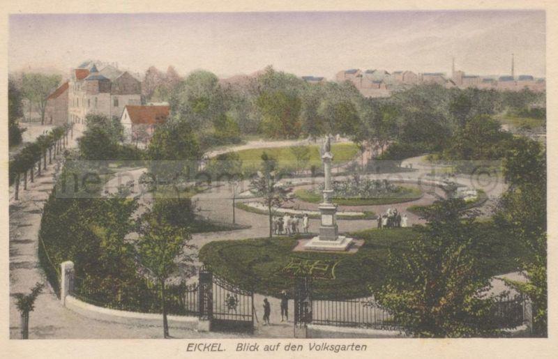 Eickeler Volksgarten mit Siegessäule, kolorierte Postkarte, gelaufen 1918, Foto Stadtarchiv Herne
