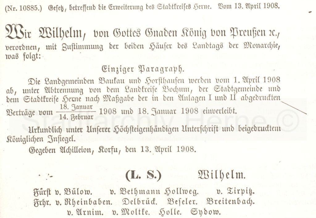 'Einverleibung' von Baukau und Horsthausen in den Stadtkreis Herne, Preußisches Gesetzblatt 15, Eingmeindungsparagraph, Foto Stadtarchiv Herne