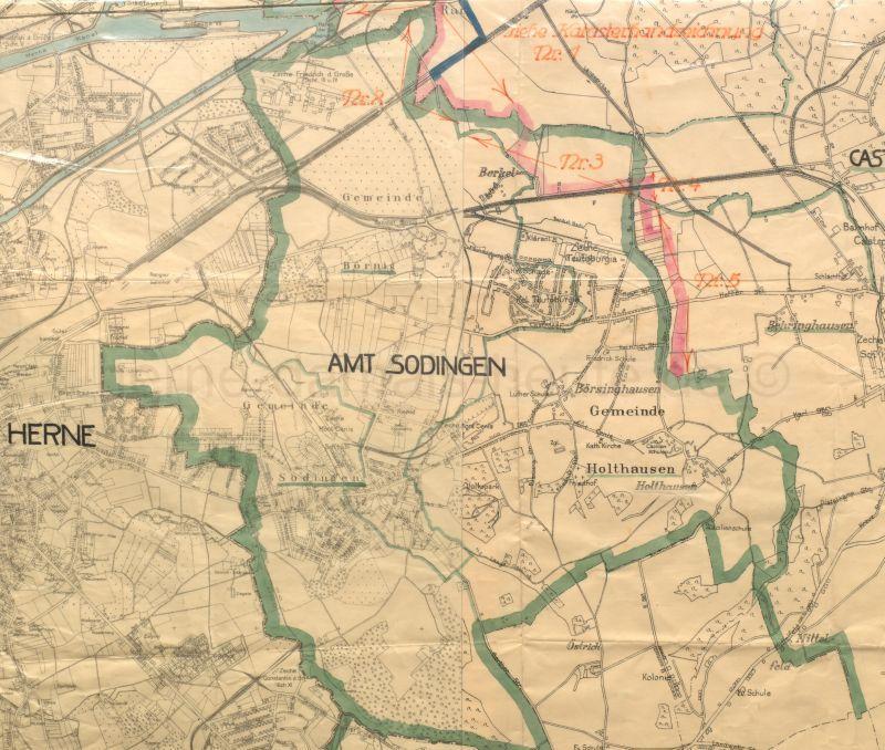 Karte des Amtes Sodingen, Anfang 1928, Foto Stadtarchiv Herne