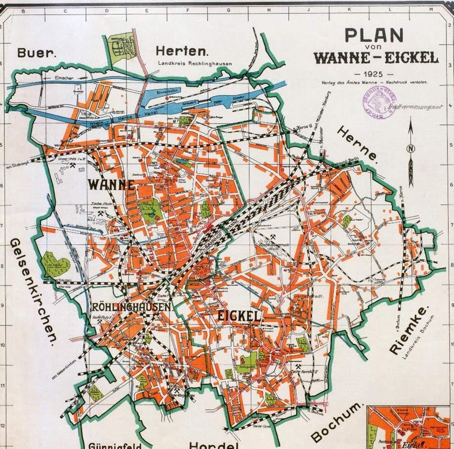 Plan der Ämter Wanne und Eickel, 1925, Foto Stadtarchiv Herne
