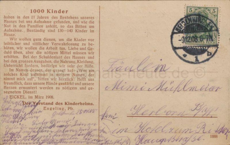 Rückseite Postkarte Ev. Kinderheim an der Kanonierstraße (Hirtenstraße), 1908, Foto Horst Schröder