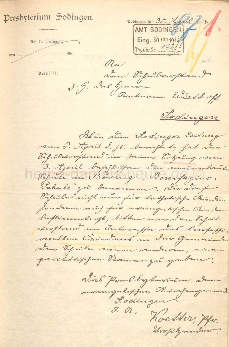 Schreiben des Presbyteriums Sodingen vom 30. April 1914, Foto Stadtarchiv Herne