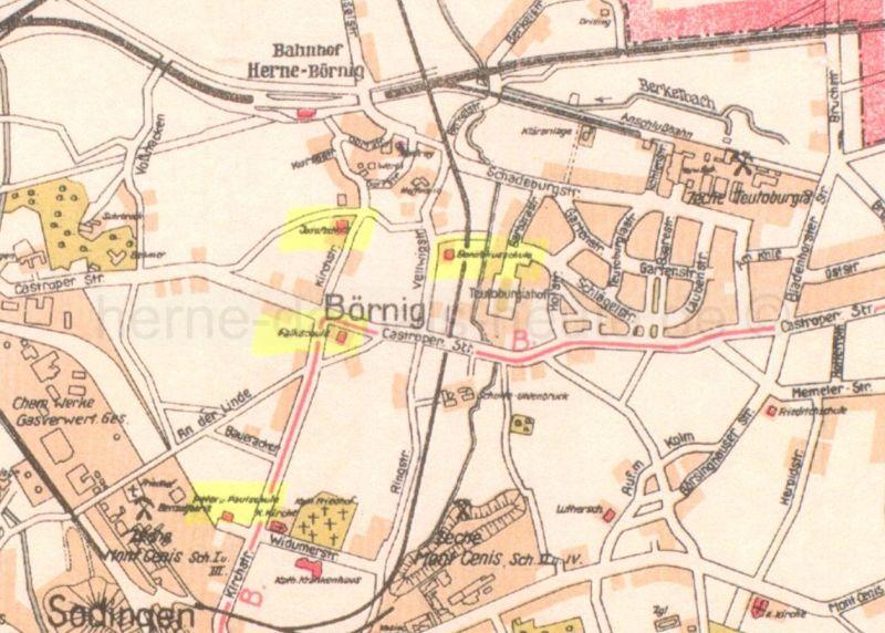 Schulen in Börnig, Stadtplan Herne 1928, links Josefschule, Falkschule und Peter und Paul-Schule (von oben nach unten), rechts Bonifatiusschule, Foto Stadtarchiv Herne