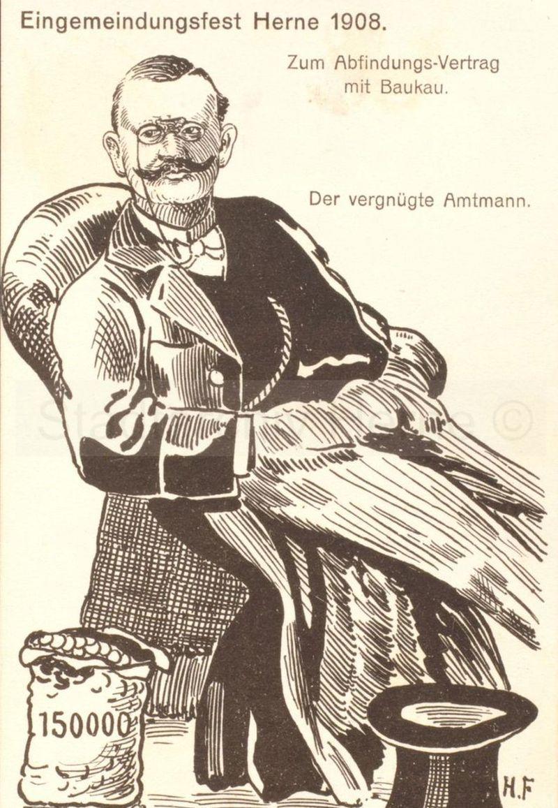 Spottkarte gegen Amtmann la Roche, Foto Stadtarchiv Herne