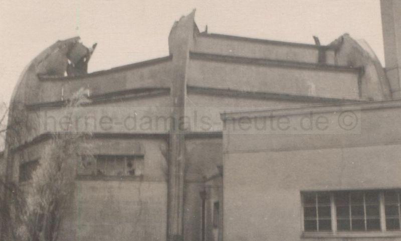 Zerstörte Stadthalle, Foto Stadtarchiv Herne
