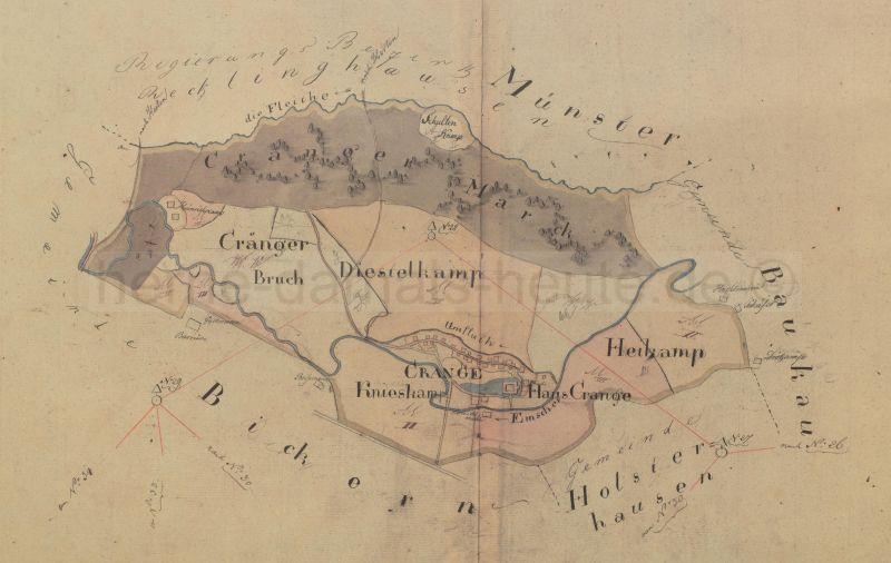 Übersichtshandriss Crange, 1823, Foto Stadtarchiv Herne