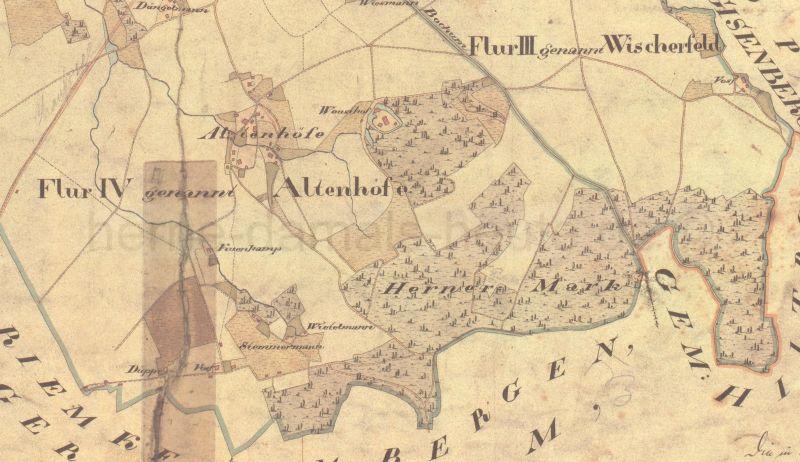 Altenhöfe, Auszug aus der Gemeindekarte von Herne, 1824, Foto Stadtarchiv Herne