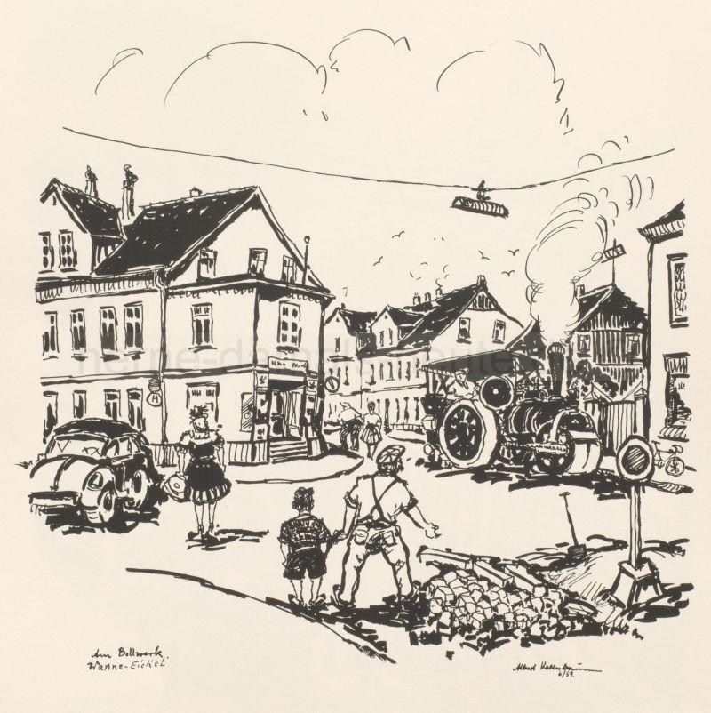 Am Bollwerk, Tuschezeichnung von Albert Kelterbaum, 1959, Foto Stadtarchiv Herne