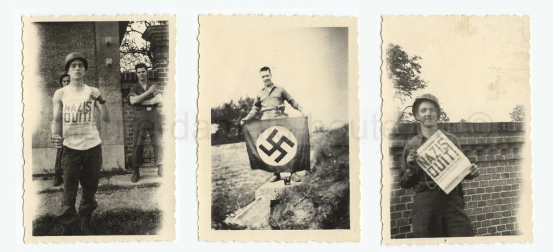 Amerikanische GIs nach der Besetzung Hernes. Vermutlich wurden die Fotos am Schloss Strünkede aufgenommen, wo die Amis ihr erstes Hauptquartier hatten. Foto Bildarchiv Herne