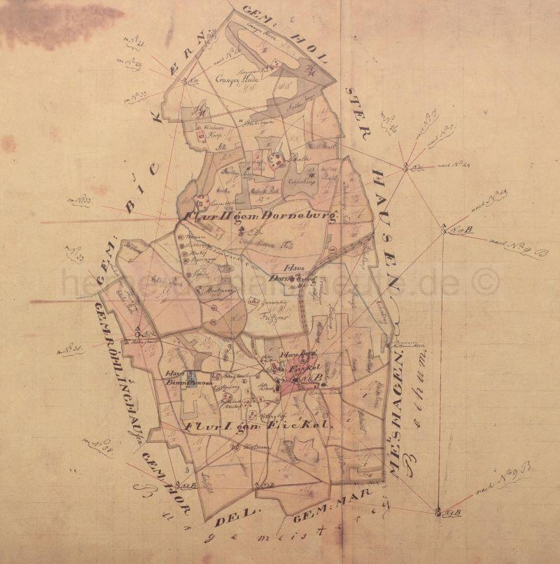 Eickel, Übersichtshandriss, Juli 1823, Foto Stadtarchiv Herne