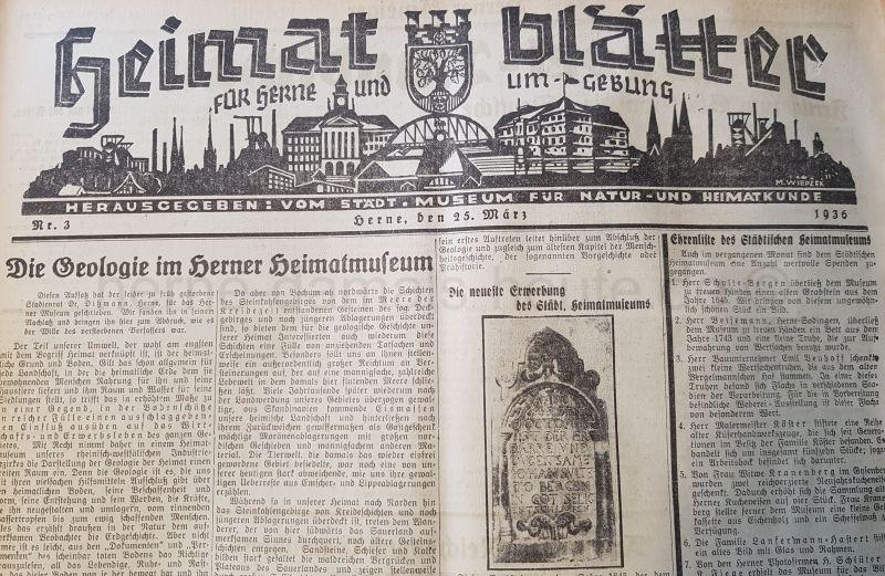 Heimatblätter für Herne und Umgebung, Herner Anzeiger vom 25. März 1936, Repro Stadtarchiv Herne