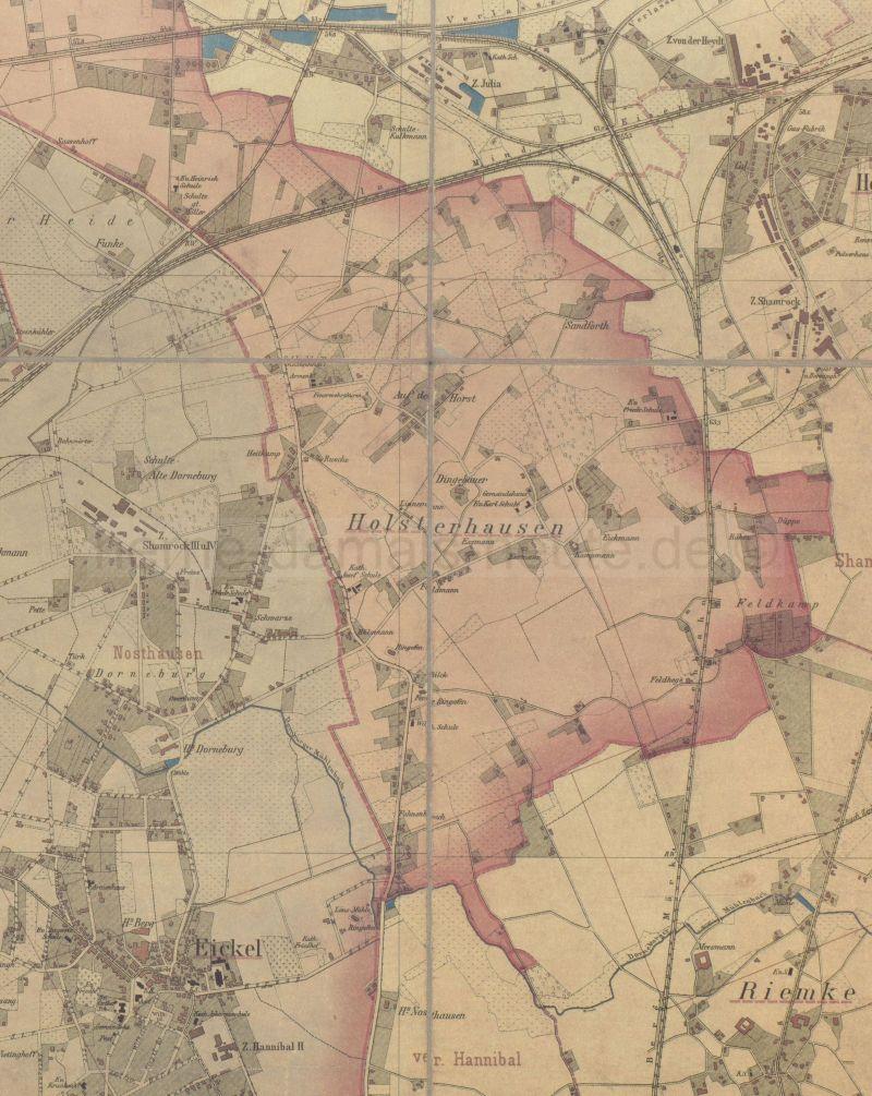Holsterhausen, Ausschnitt aus der Karte des Kreises Gelsenkirchen, 1902, Foto Stadtarchiv Herne