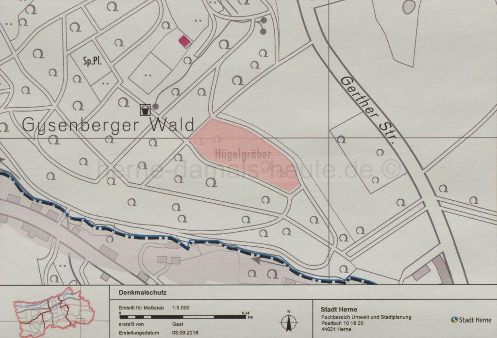 Lageplan Hügelgräber Gysenberger Wald, Foto Fachbereich Umwelt und Stadtplanung - Untere Denkmalbehörde