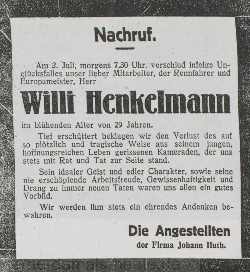 Nachruf der Angestellten der Firma Johann Huth, Foto Stadtarchiv Herne