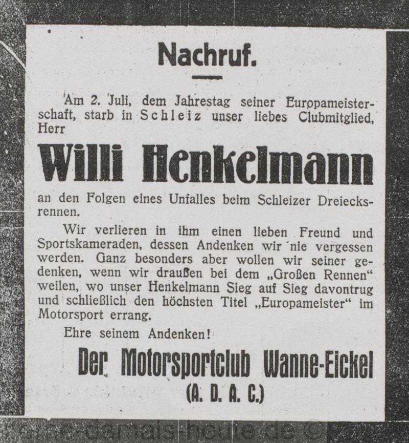 Nachruf des Motorsportclubs Wanne-Eickel (A.D.A.C.), Foto Stadtarchiv Herne