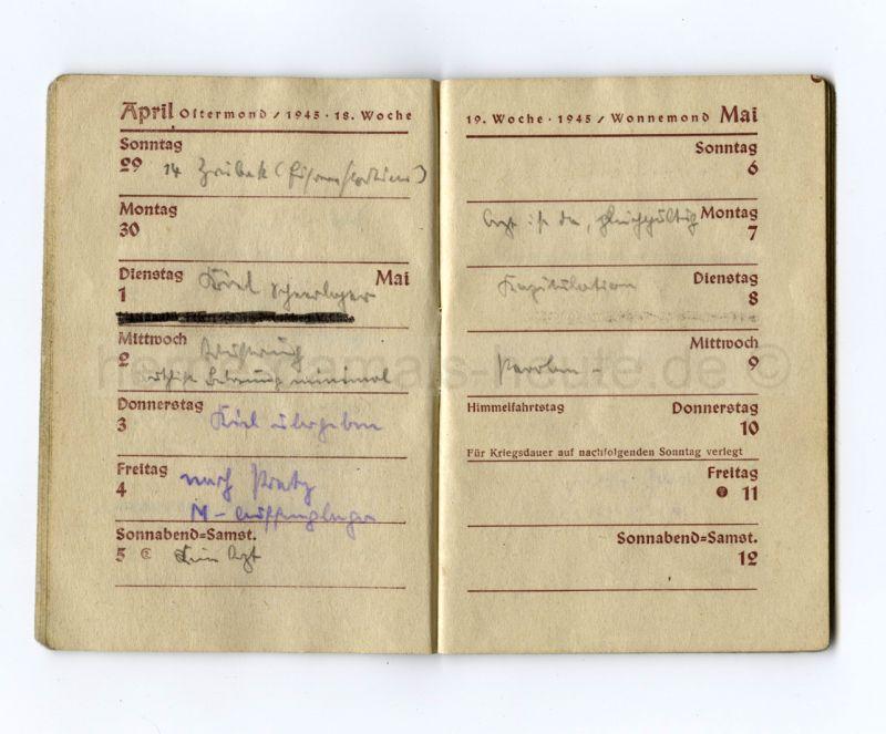 """Robert Brauner, der spätere Oberbürgermeister, schrieb am 8. Mai in seinen Taschenkalender """"Kapitulation""""."""