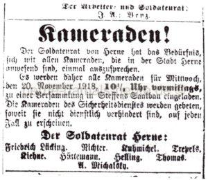 Aufruf des Soldatenrates Herne zur Versammlung, Repro Norbert Kozicki