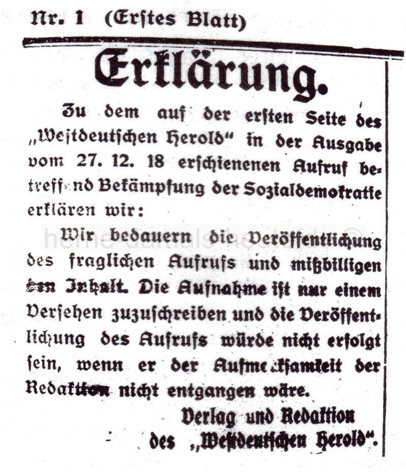 Erklärung des 'Westdeutschen Herold', Repro Norbert Kozicki