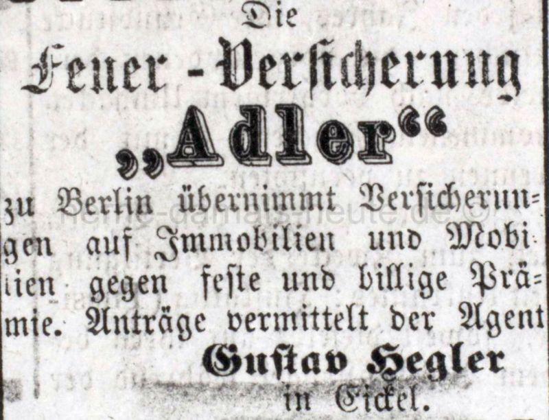 Annonce in der Eickeler Zeitung vom 30. Dezember 1876, Repro Stadtarchiv Herne