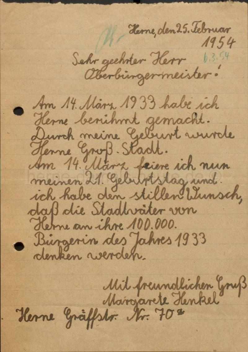 Brief von Margarete Henkel an Oberbürgermeister Brauner, Repro Stadtarchiv Herne