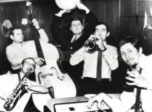 Die Modern Jazz Group während einer Probe für den Fernsehauftritt mit Günter Grass, Repro Norbert Kozicki