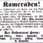 Einladung des Soldatenrates zu einer Versammlung, November 1918