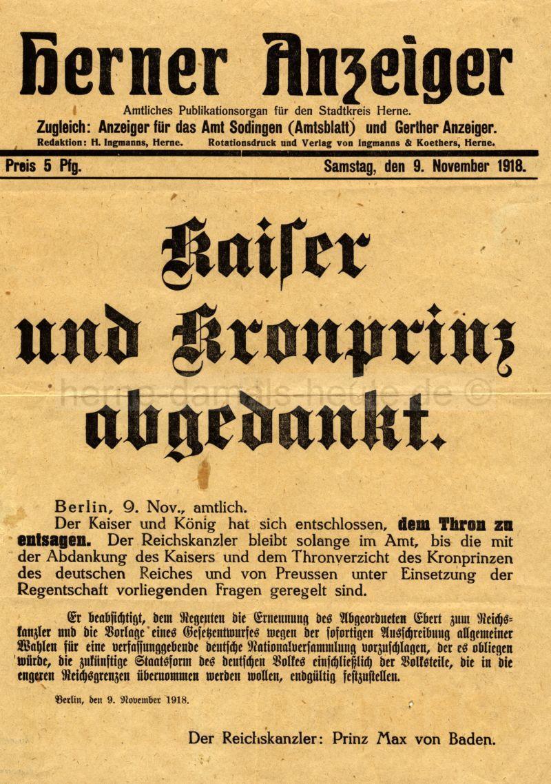 Extrablatt des Herner Anzeigers, 9. November 1918