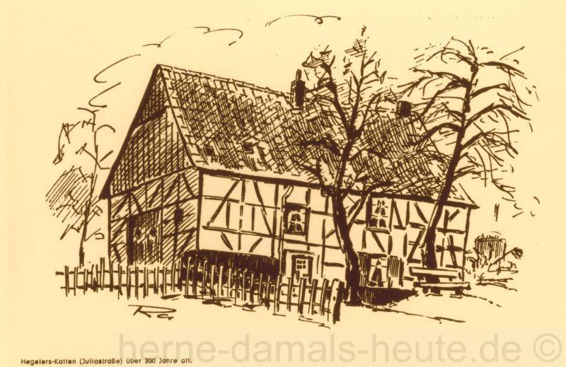 Hegler-Kotten an der Juliastraße, nach einer Zeichnung von H. Raddatz, Repro Stadtarchiv Herne