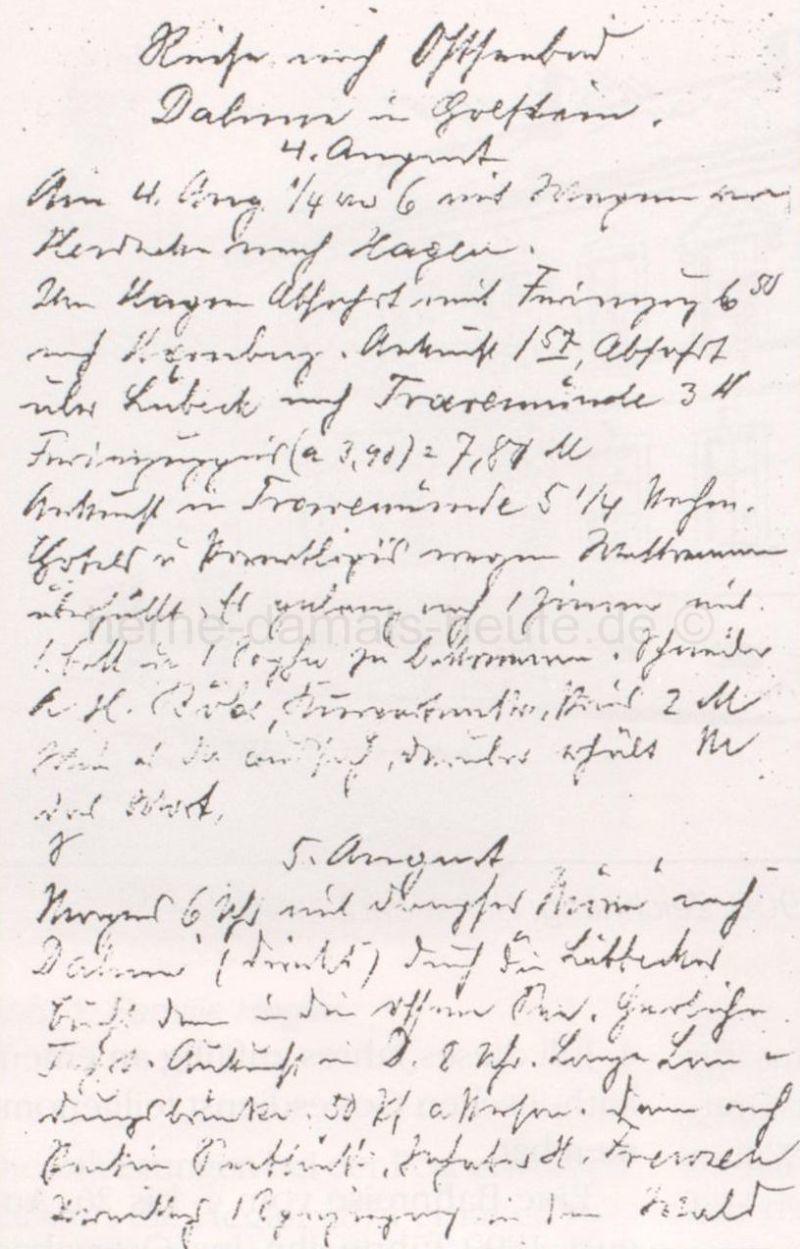 Heglers Tagebuchaufzeichnungen seiner Reise nach Dahme 1899, Repro Stadtarchiv Herne