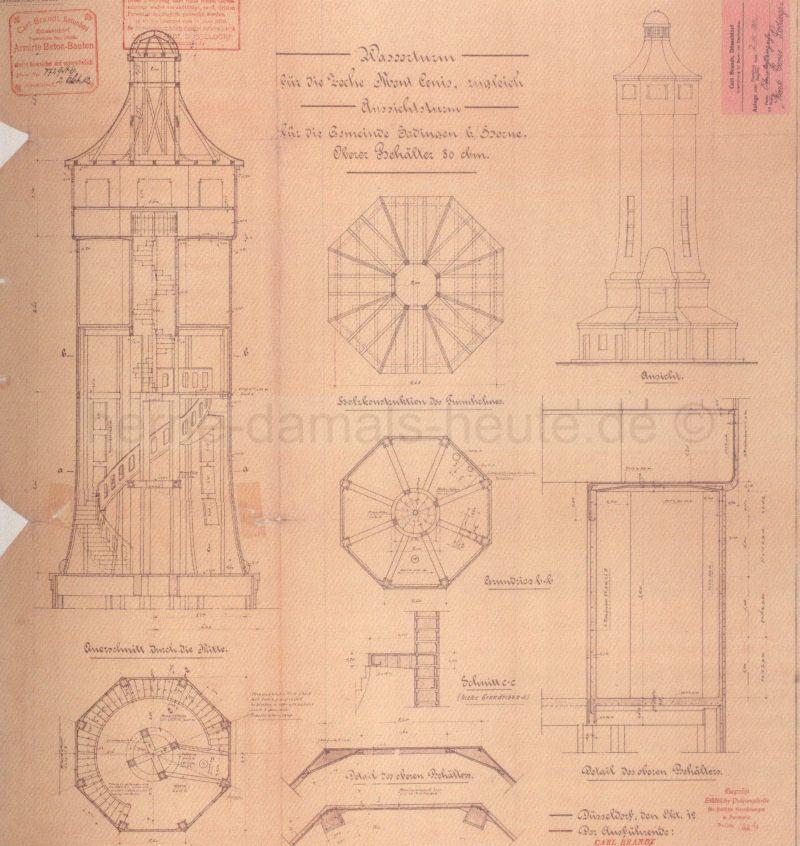 Konstruktionszeichnung, 1912, Repro Stadtarchiv Herne