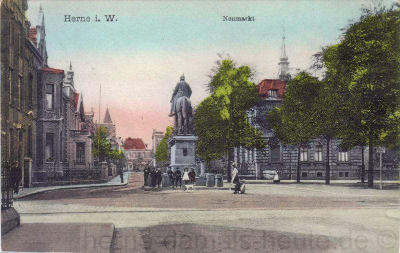 Postkarte Kaiser-Wilhelm-Denkamal, Hinteransicht, Repro Stadtarchiv Herne