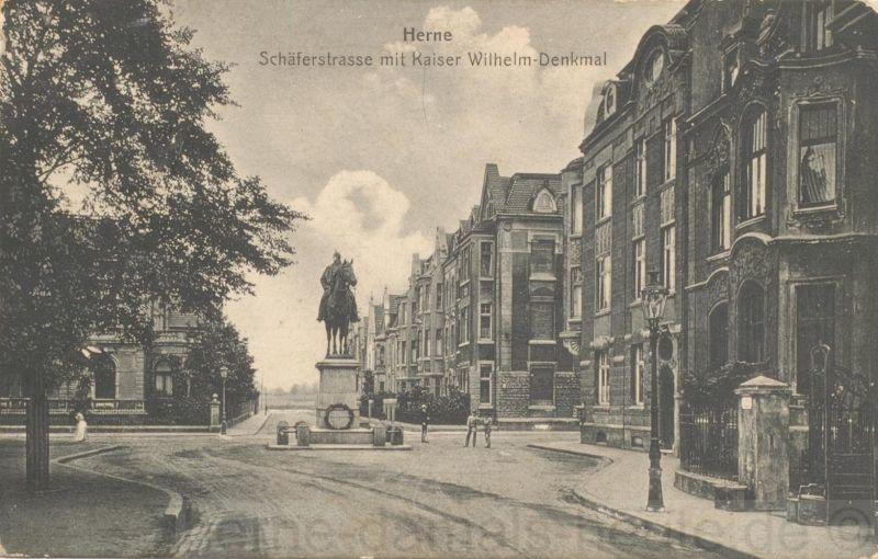 Postkarte Kaiser-Wilhelm-Denkmal, Vorderansicht, Repro Stadtarchiv Herne