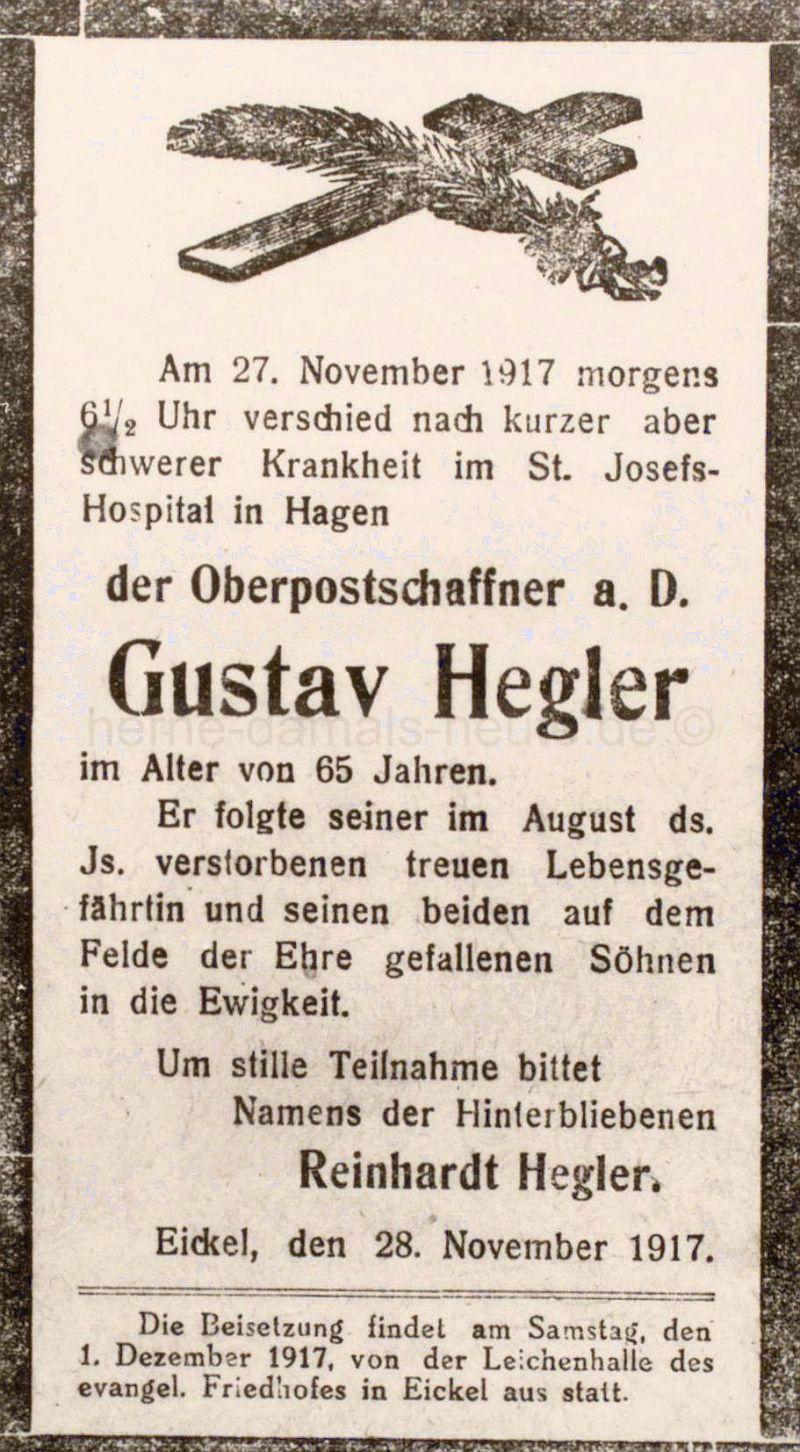 Todesanzeige Gustav Hegler, Repro Stadtarchiv Herne