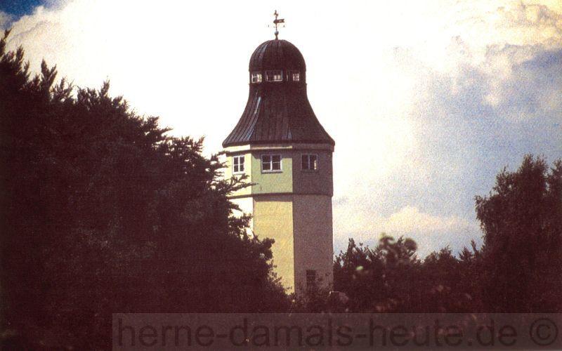 Turmspitze mit Wetterfahne, 1979, Repro Stadtarchiv Herne