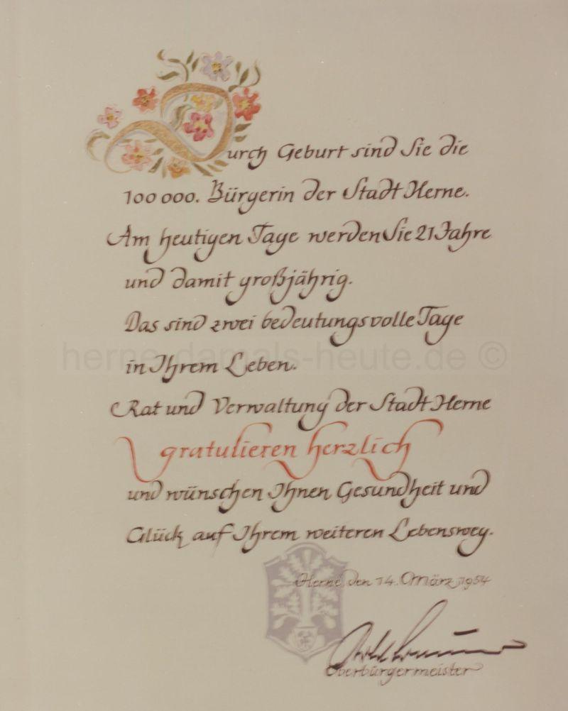 Urkunde der Stadt Herne, 14. März 1954, Repro Stadtarchiv Herne