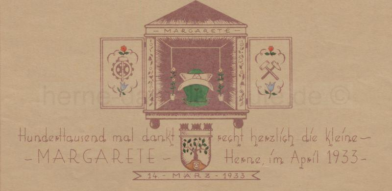 Urkunde der Stadt Herne, April 1933, Repro Stadtarchiv Herne