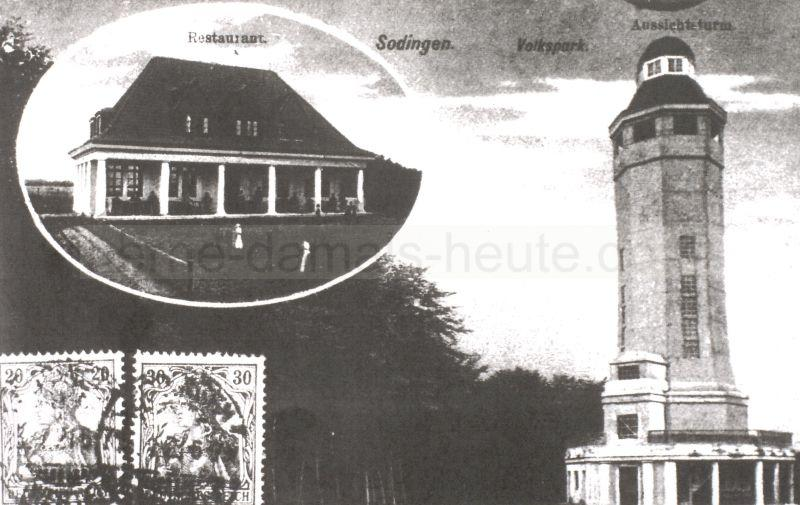 Volkspark mit Restaurant und Kaiser-Wilhelm-Turm, Postkarte, um 1915, Repro Stadtarchiv Herne