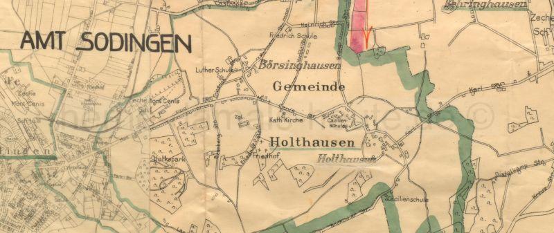 Ausschnitt aus der Karte des Amtes Sodingen, 1928, Foto Stadtarchiv Herne