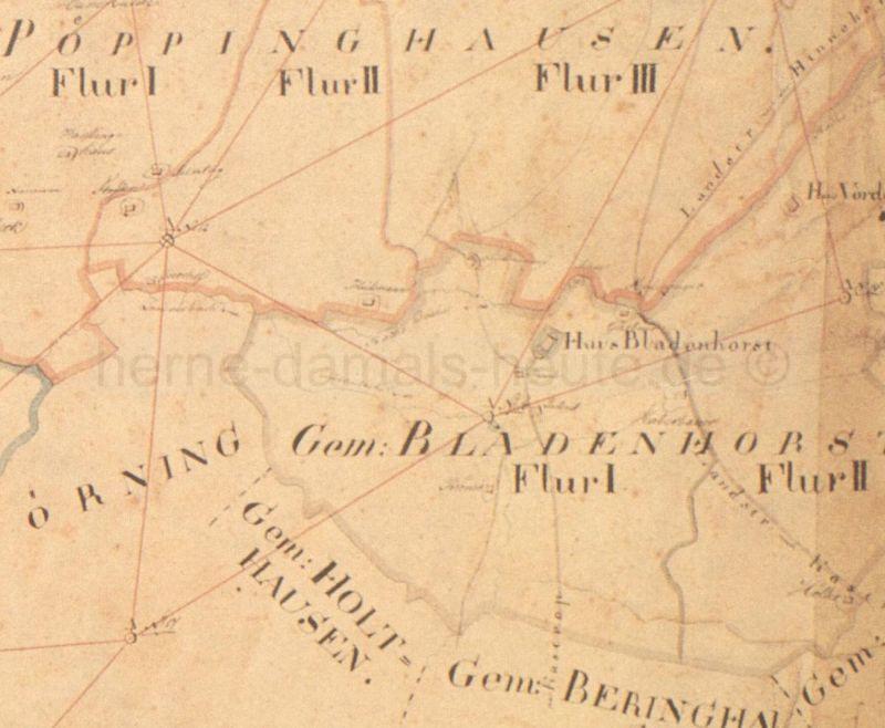 Gemeinde Bladenhorst mit Haus Bladenhorst im Zentrum, Ausschnitt aus der Karte Bürgermeisterei Herne, 1823, Foto Stadtarchiv Herne