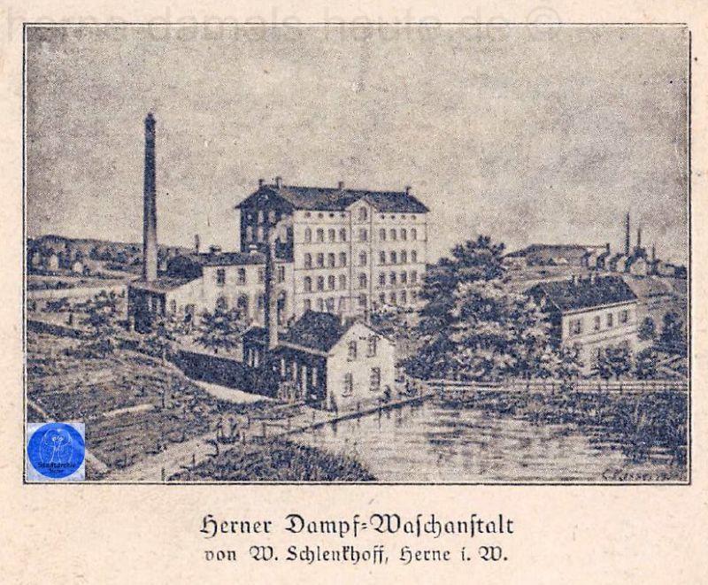 Herner Dampf-Waschanstalt, ehemals Ölmühle Funkenberg, Postkarte, undatiert, Repro Gerd Biedermann