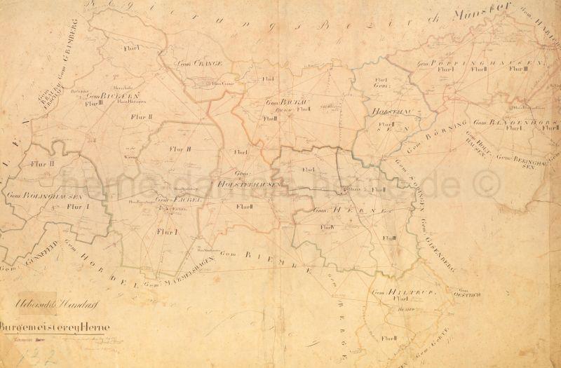 Karte der Bürgermeisterei Herne, 1823, Repro Stadtarchiv Herne